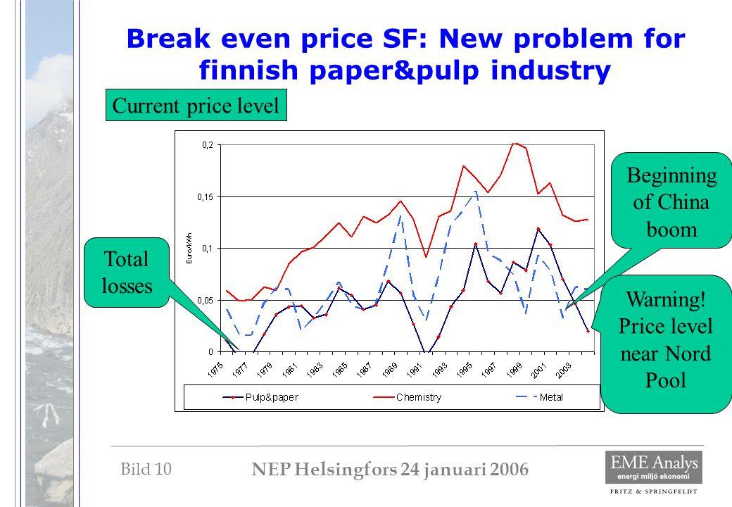 Bild 10 NEP Helsingfors 24 januari 2006 Break even price SF: New problem for finnish paper&pulp industry Beginning of China boom Total losses Current