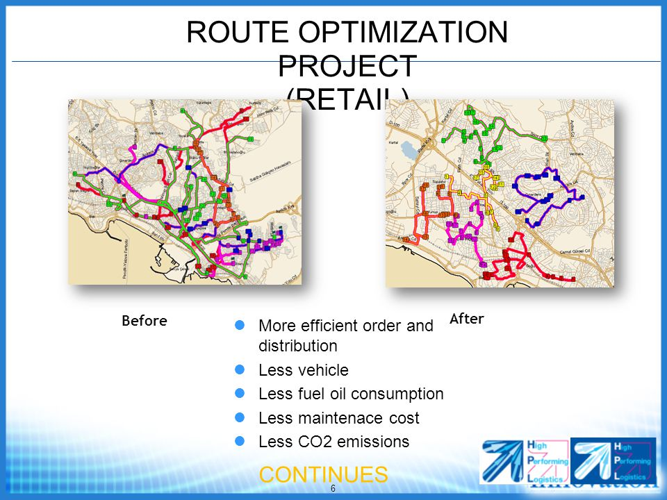 6 ROUTE OPTIMIZATION PROJECT (RETAIL) Before After More efficient order and distribution Less vehicle Less fuel oil consumption Less maintenace cost Less CO2 emissions CONTINUES
