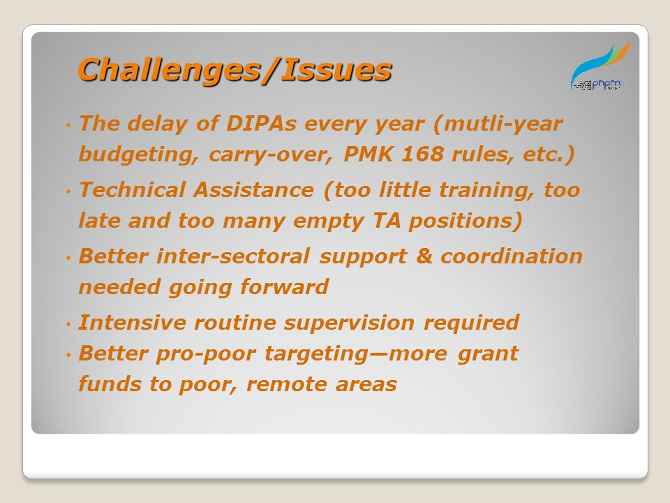 Challenges/Issues Challenges/Issues The delay of DIPAs every year (mutli-year budgeting, carry-over, PMK 168 rules, etc.) Technical Assistance (too li