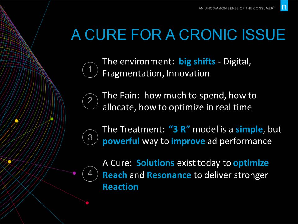 A CURE FOR A CRONIC ISSUE The environment: big shifts - Digital, Fragmentation, Innovation The Pain: how much to spend, how to allocate, how to optimize in real time The Treatment: 3 R model is a simple, but powerful way to improve ad performance A Cure: Solutions exist today to optimize Reach and Resonance to deliver stronger Reaction