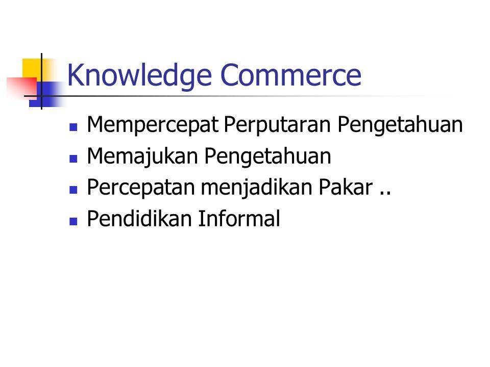 Knowledge Commerce Mempercepat Perputaran Pengetahuan Memajukan Pengetahuan Percepatan menjadikan Pakar.. Pendidikan Informal