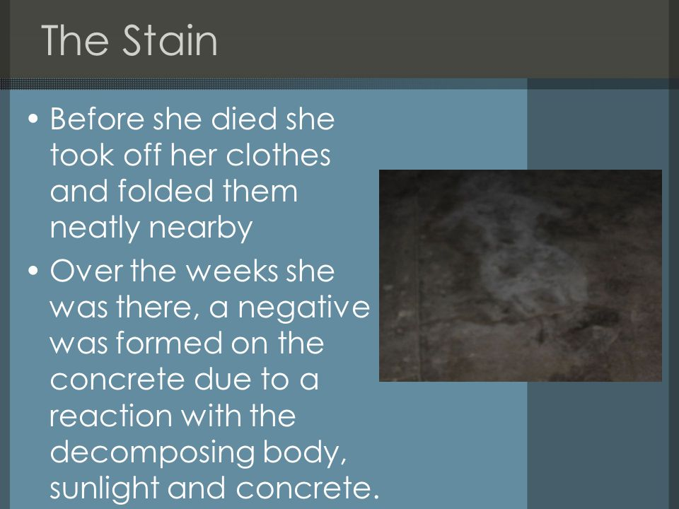 The Stain Before she died she took off her clothes and folded them neatly nearby Over the weeks she was there, a negative was formed on the concrete due to a reaction with the decomposing body, sunlight and concrete.