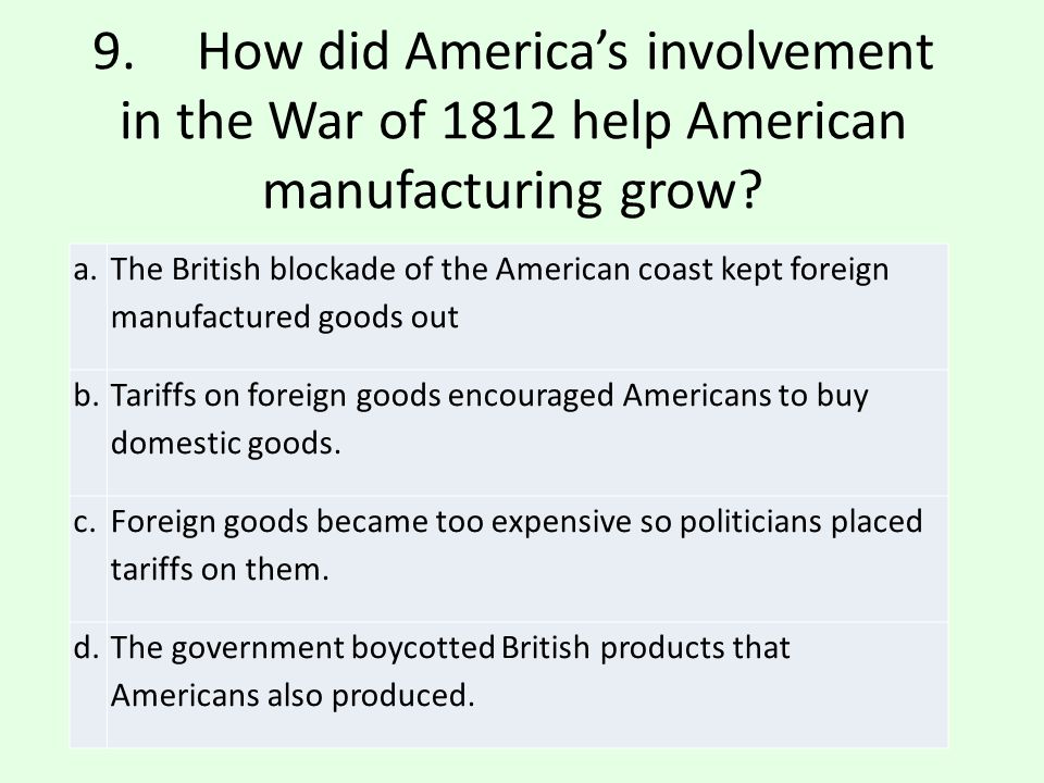 a.The British blockade of the American coast kept foreign manufactured goods out