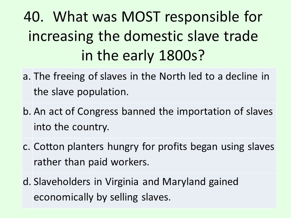 b.An act of Congress banned the importation of slaves into the country.