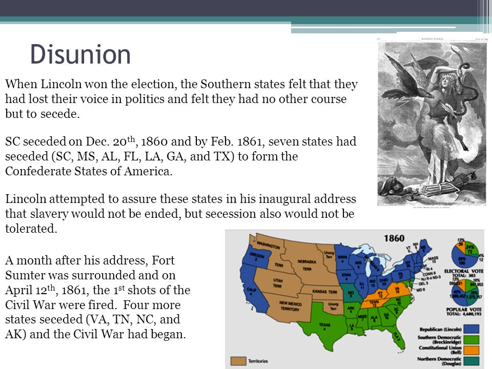 Disunion When Lincoln won the election, the Southern states felt that they had lost their voice in politics and felt they had no other course but to secede.
