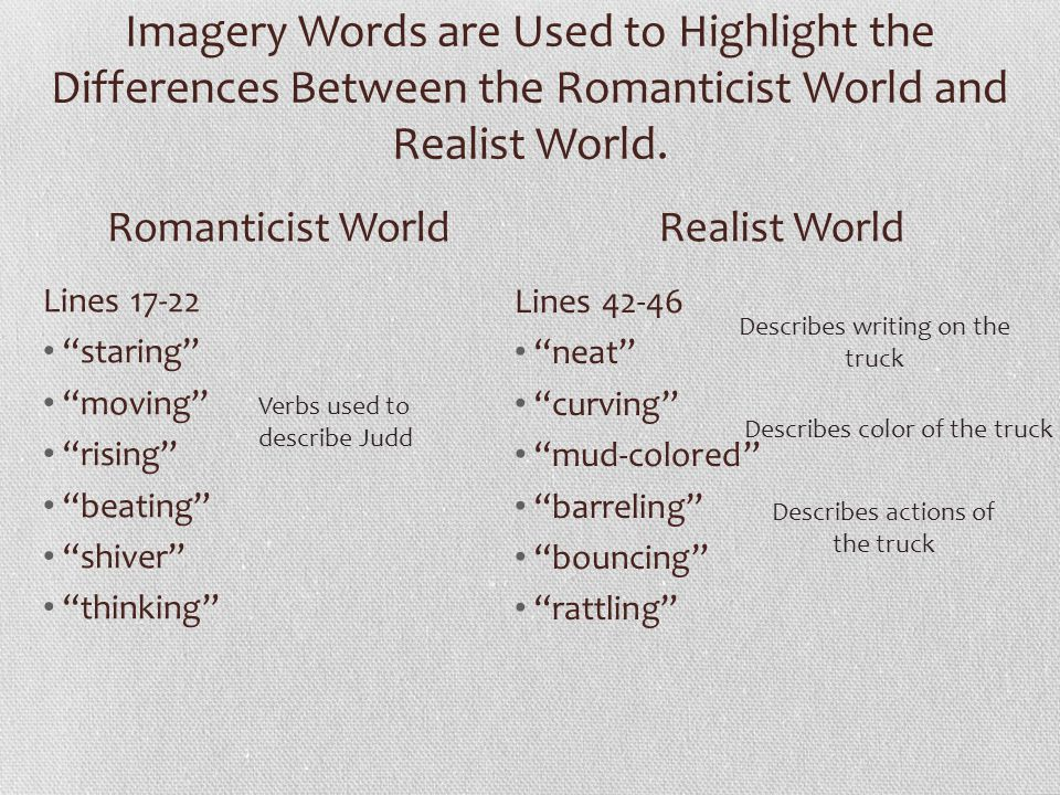 "Imagery Words are Used to Highlight the Differences Between the Romanticist World and Realist World. Lines 17-22 ""staring"" ""moving"" ""rising"" ""beating"""