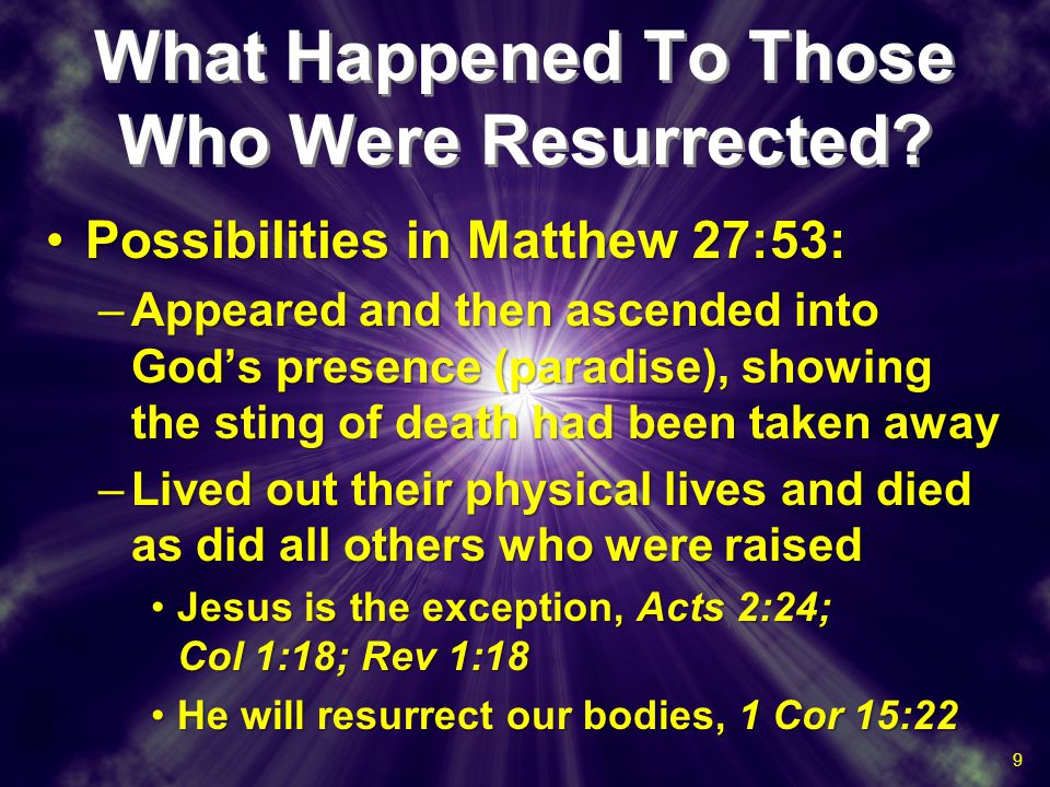 What Happened To Those Who Were Resurrected? Possibilities in Matthew 27:53:Possibilities in Matthew 27:53: –Appeared and then ascended into God's pre