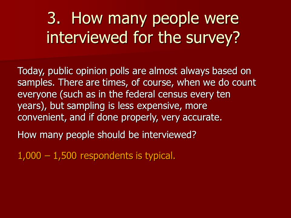 3. How many people were interviewed for the survey.