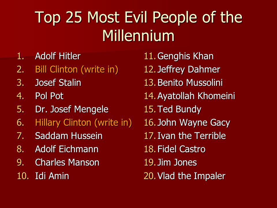 Top 25 Most Evil People of the Millennium 1.Adolf Hitler 2.Bill Clinton (write in) 3.Josef Stalin 4.Pol Pot 5.Dr.
