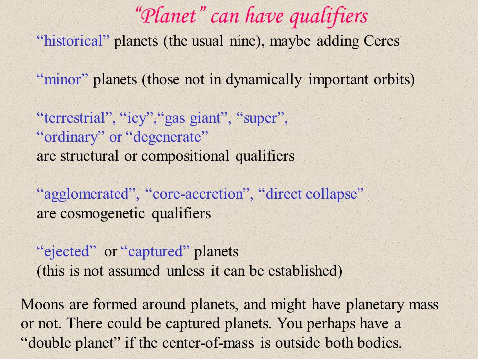"""Planet"" can have qualifiers ""historical"" planets (the usual nine), maybe adding Ceres ""minor"" planets (those not in dynamically important orbits) ""te"