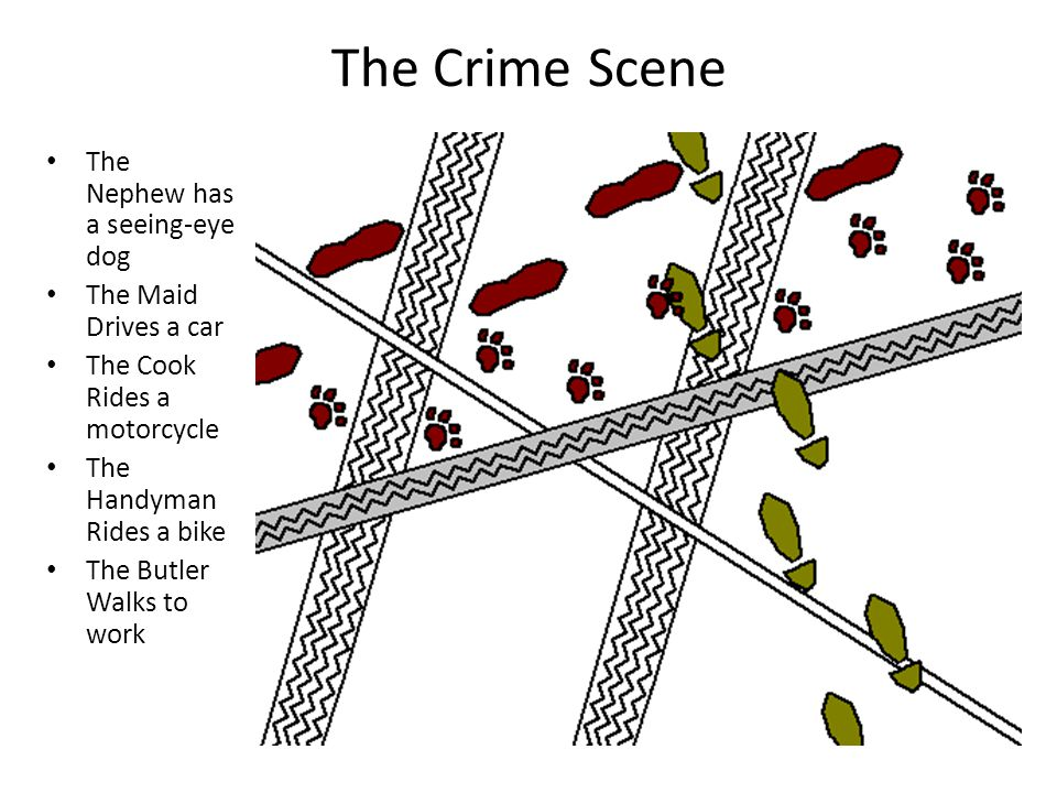 The Crime Scene The Nephew has a seeing-eye dog The Maid Drives a car The Cook Rides a motorcycle The Handyman Rides a bike The Butler Walks to work