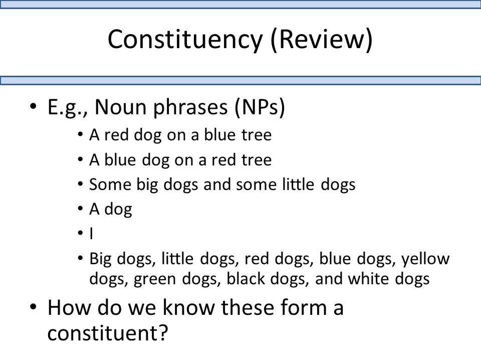 Constituency (Review) E.g., Noun phrases (NPs) A red dog on a blue tree A blue dog on a red tree Some big dogs and some little dogs A dog I Big dogs, little dogs, red dogs, blue dogs, yellow dogs, green dogs, black dogs, and white dogs How do we know these form a constituent