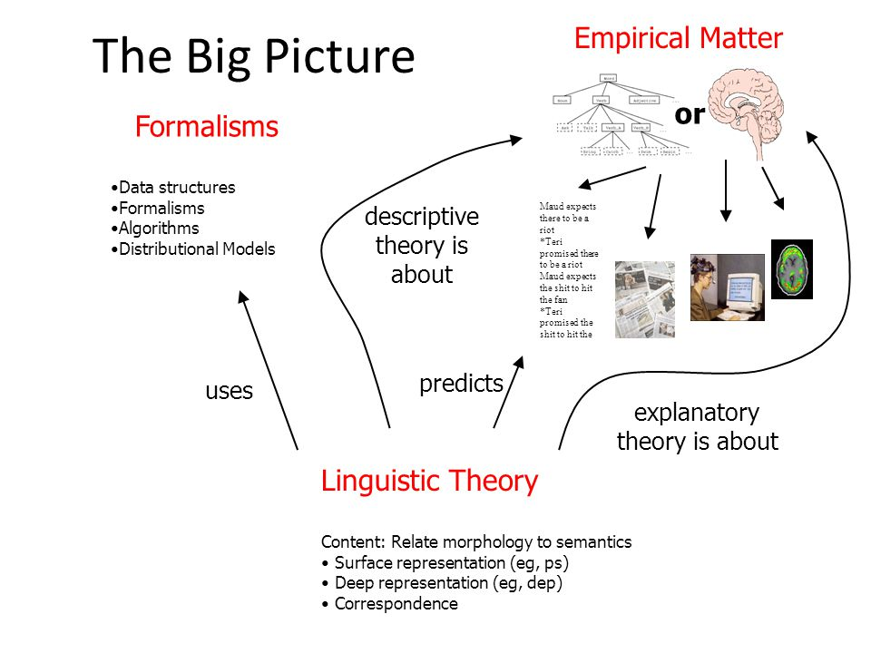 The Big Picture Empirical Matter Formalisms Data structures Formalisms Algorithms Distributional Models Maud expects there to be a riot *Teri promised there to be a riot Maud expects the shit to hit the fan *Teri promised the shit to hit the or Linguistic Theory Content: Relate morphology to semantics Surface representation (eg, ps) Deep representation (eg, dep) Correspondence uses descriptive theory is about explanatory theory is about predicts
