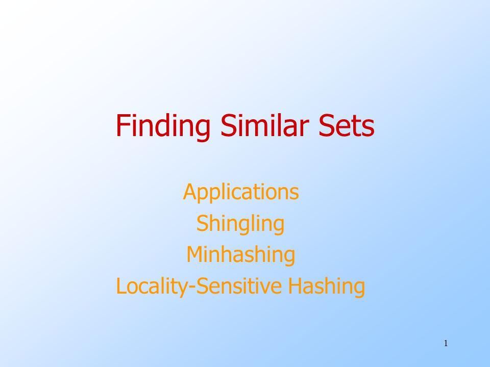 1 Finding Similar Sets Applications Shingling Minhashing Locality-Sensitive Hashing
