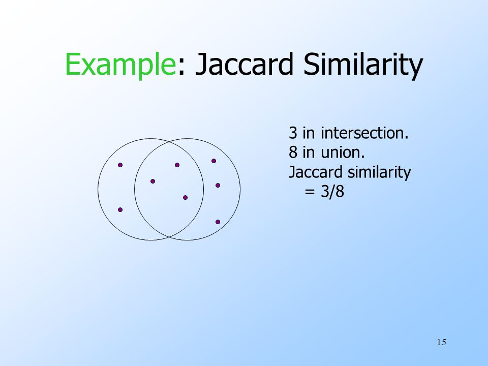 15 Example: Jaccard Similarity 3 in intersection. 8 in union. Jaccard similarity = 3/8