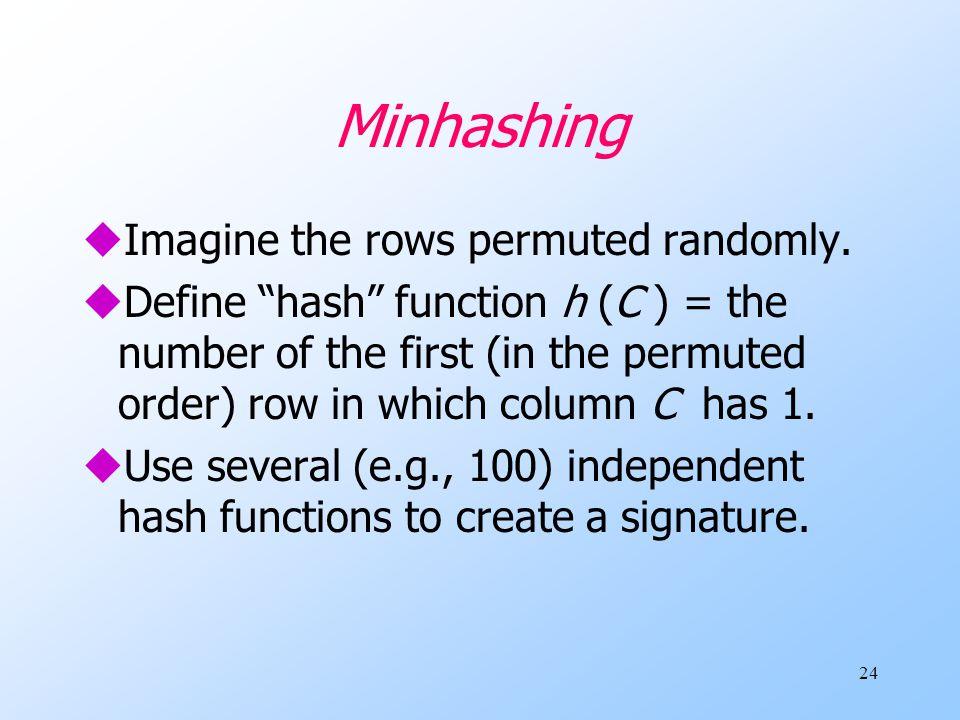 24 Minhashing uImagine the rows permuted randomly.