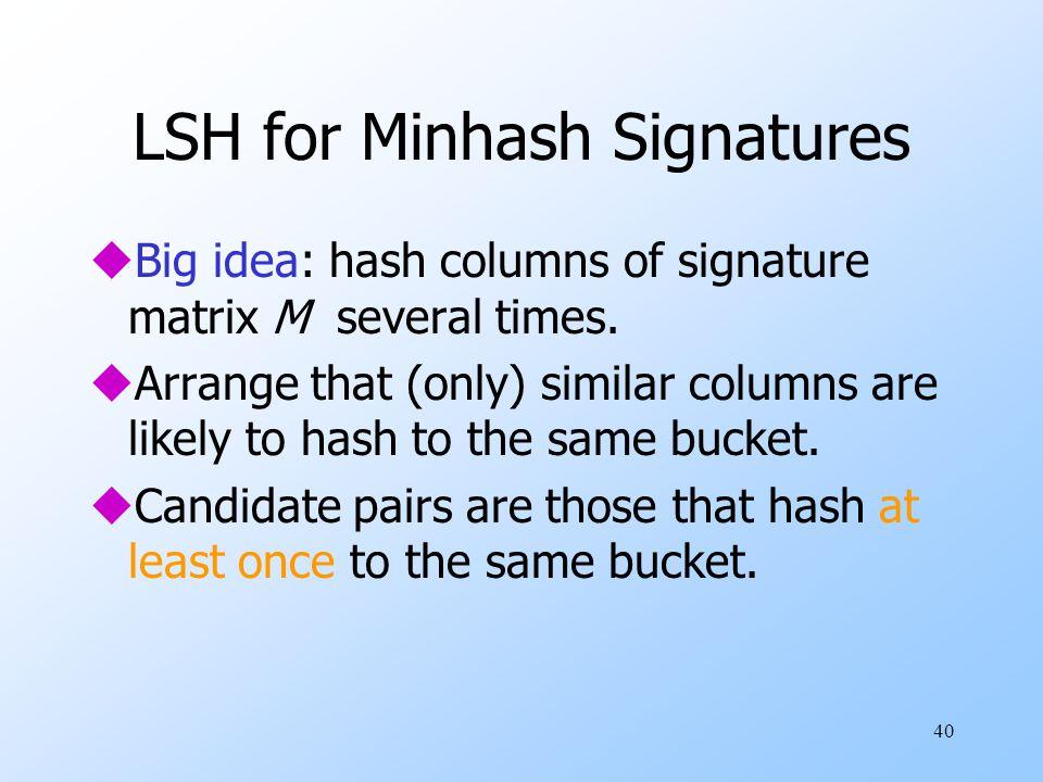 40 LSH for Minhash Signatures uBig idea: hash columns of signature matrix M several times.