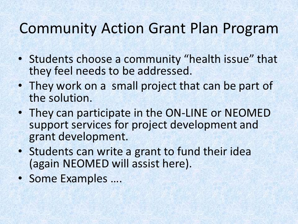"""Community Action Grant Plan Program Students choose a community """"health issue"""" that they feel needs to be addressed. They work on a small project that"""