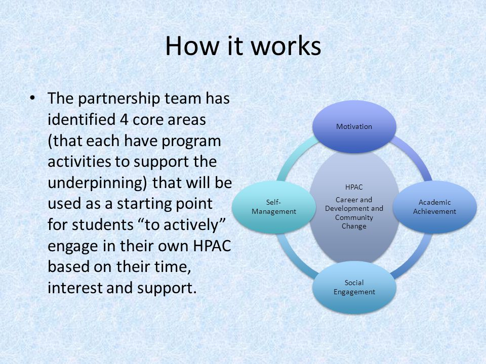 How it works The partnership team has identified 4 core areas (that each have program activities to support the underpinning) that will be used as a s