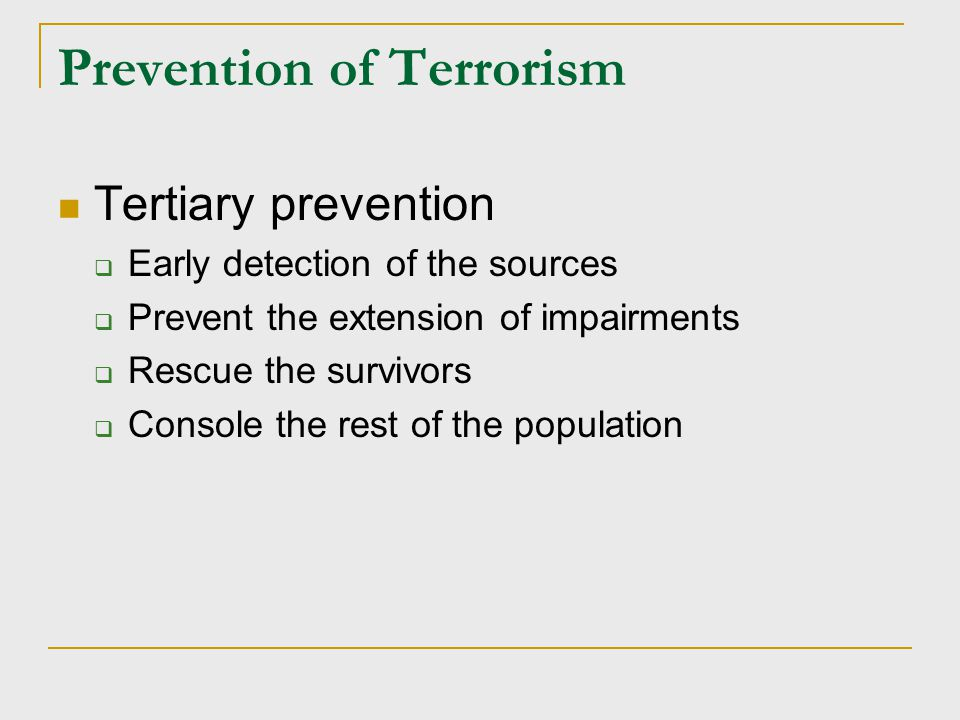 Types of Terrorism Domestic terrorism involves groups whose terrorist activities are directed at elements of our government without foreign involvement.