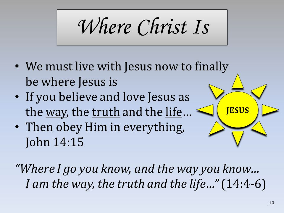 Where Christ Is We must live with Jesus now to finally be where Jesus is If you believe and love Jesus as the way, the truth and the life… Then obey Him in everything, John 14:15 Where I go you know, and the way you know… I am the way, the truth and the life… (14:4-6) JESUS 10