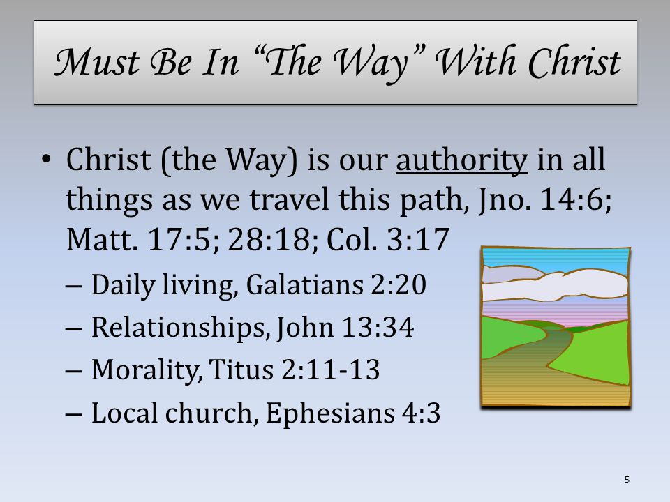 Must Be In The Way With Christ Christ (the Way) is our authority in all things as we travel this path, Jno.