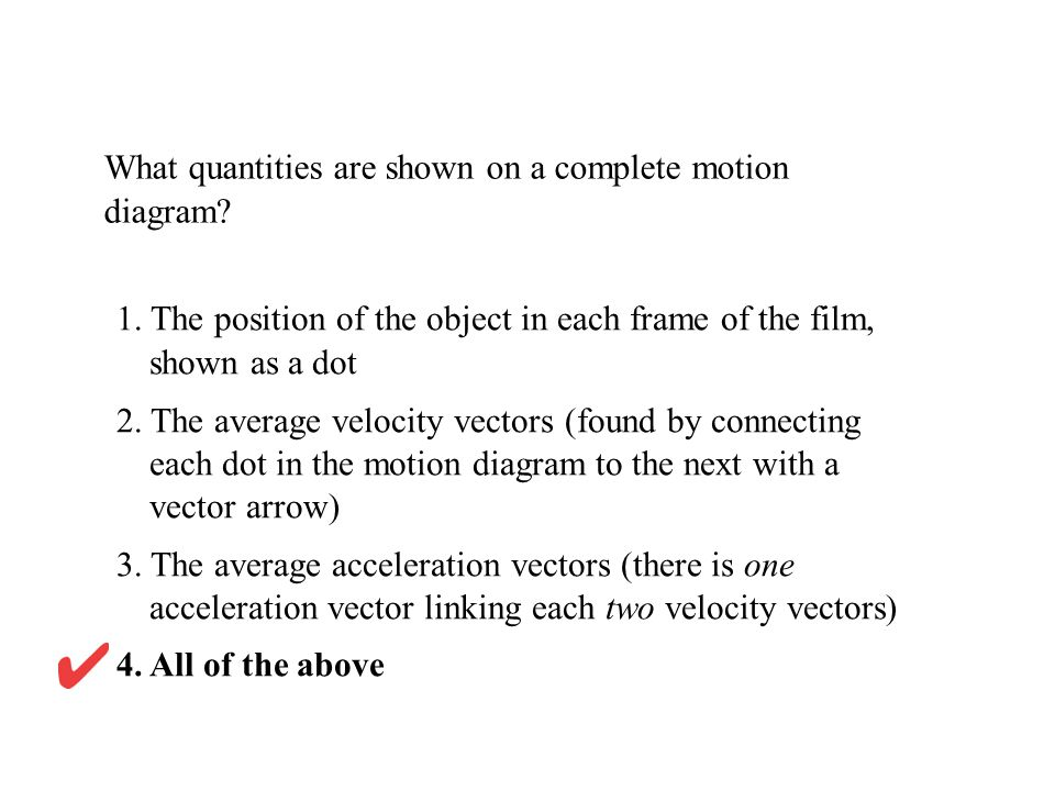 What quantities are shown on a complete motion diagram? 1. The position of the object in each frame of the film, shown as a dot 2. The average velocit