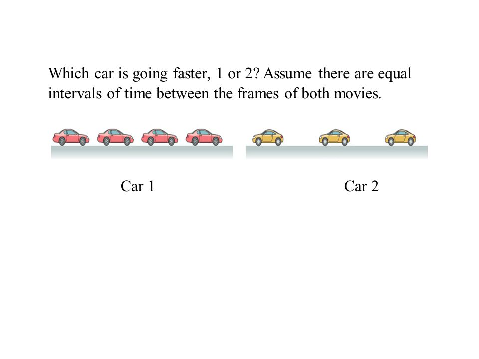 Which car is going faster, 1 or 2? Assume there are equal intervals of time between the frames of both movies. Car 1 Car 2