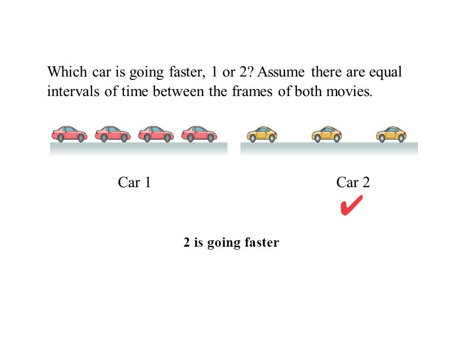 Which car is going faster, 1 or 2? Assume there are equal intervals of time between the frames of both movies. Car 1 Car 2 2 is going faster