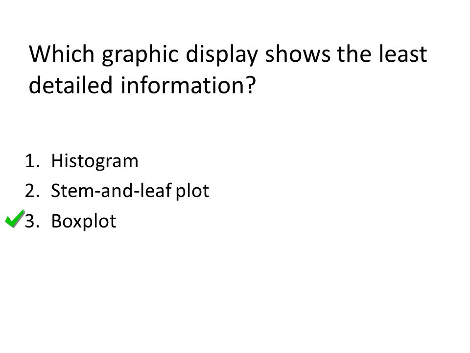 Which graphic display shows the least detailed information? 1.Histogram 2.Stem-and-leaf plot 3.Boxplot