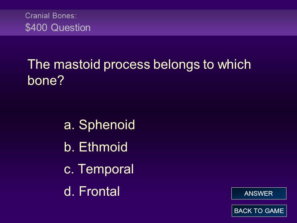 Cranial Bones: $400 Question The mastoid process belongs to which bone.