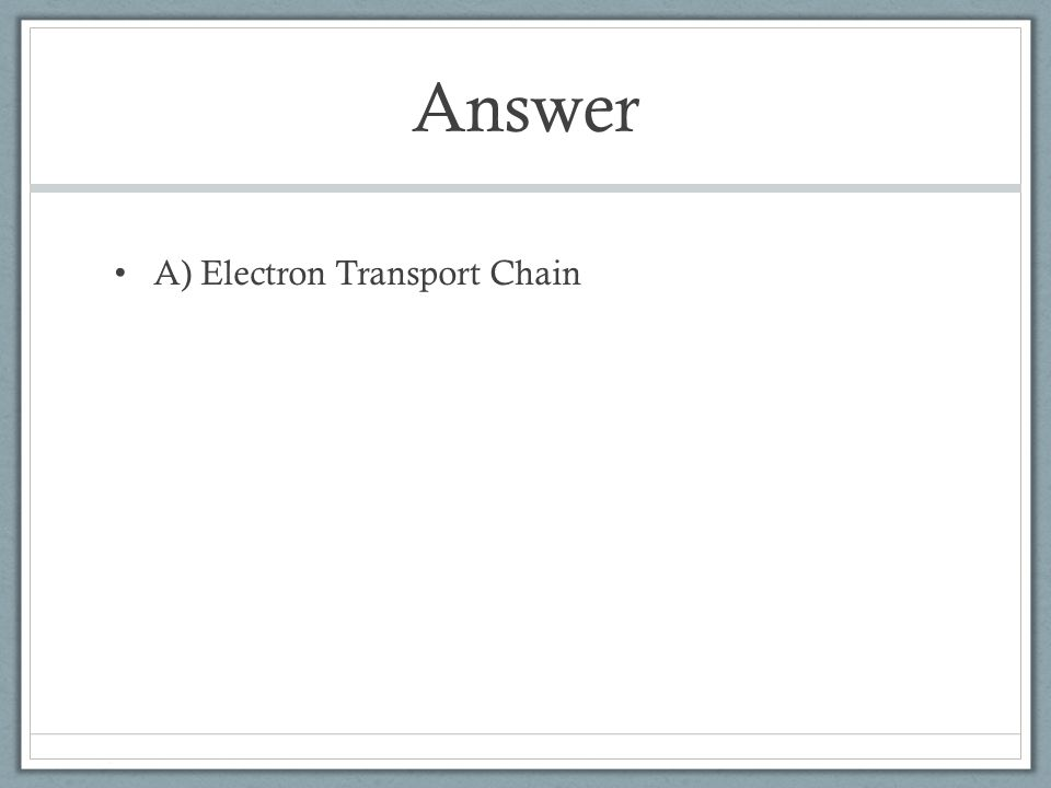 Answer A) Electron Transport Chain