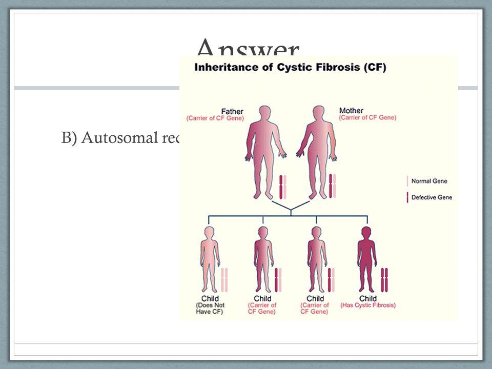 Answer B) Autosomal recessive