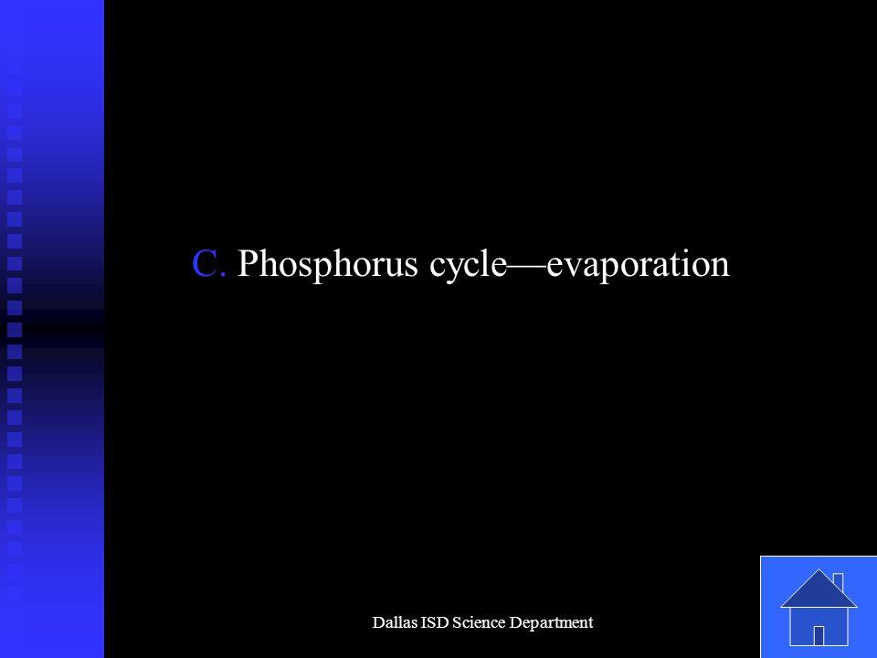 Dallas ISD Science Department C. Phosphorus cycle—evaporation