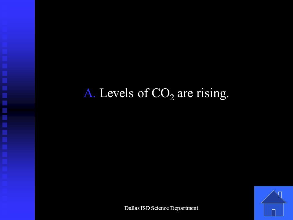 Dallas ISD Science Department A. Levels of CO 2 are rising.