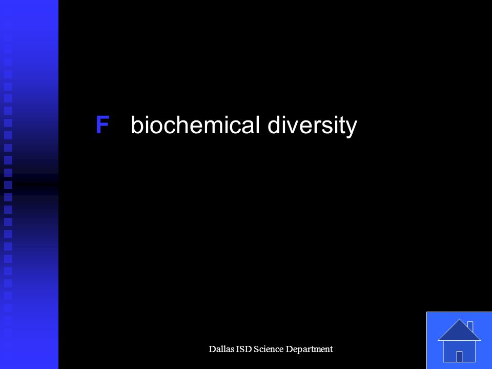 Dallas ISD Science Department F biochemical diversity