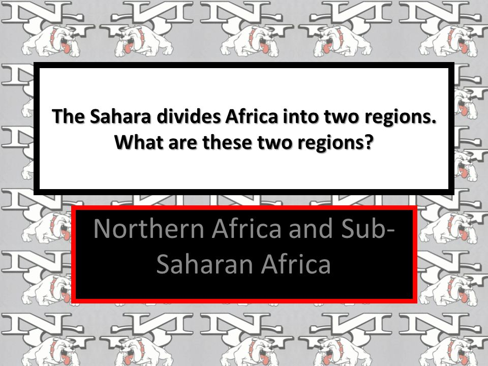 The Sahara divides Africa into two regions. What are these two regions? Northern Africa and Sub- Saharan Africa