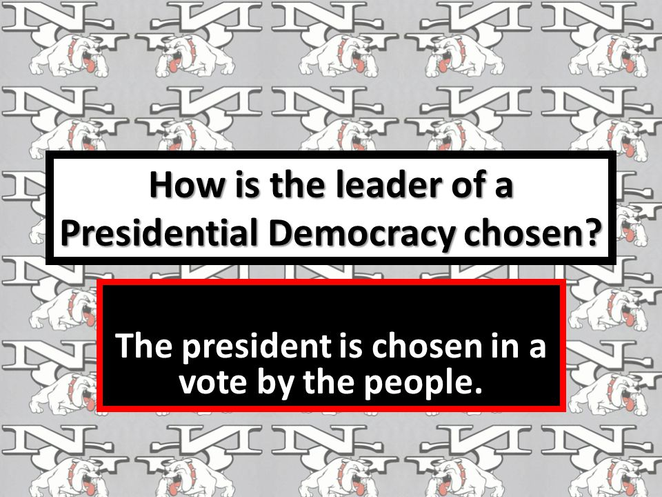 How is the leader of a Presidential Democracy chosen? The president is chosen in a vote by the people.