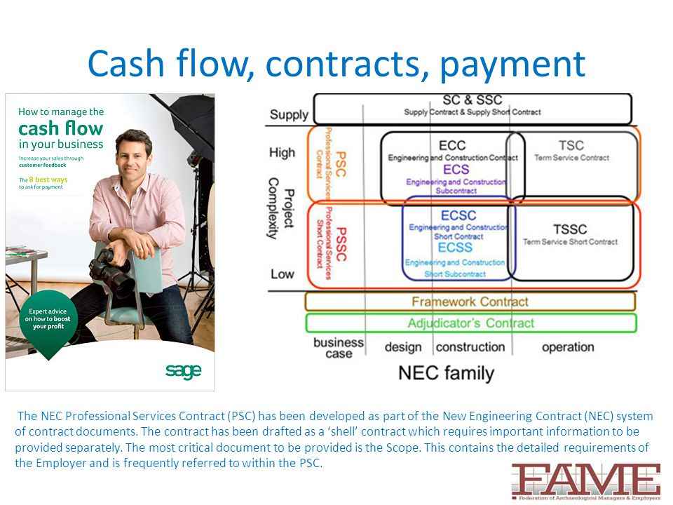Cash flow, contracts, payment The NEC Professional Services Contract (PSC) has been developed as part of the New Engineering Contract (NEC) system of contract documents.
