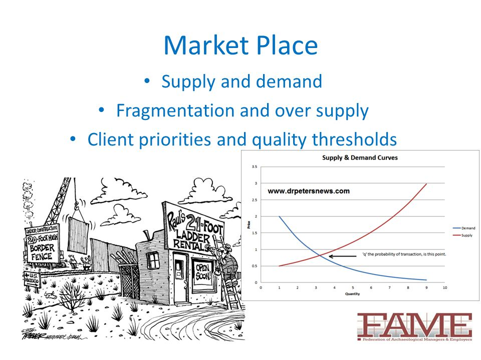 Market Place Supply and demand Fragmentation and over supply Client priorities and quality thresholds
