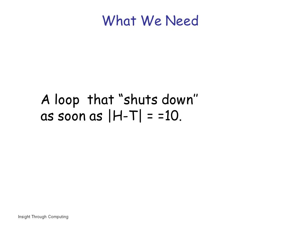 Insight Through Computing What We Need A loop that shuts down'' as soon as |H-T| = =10.