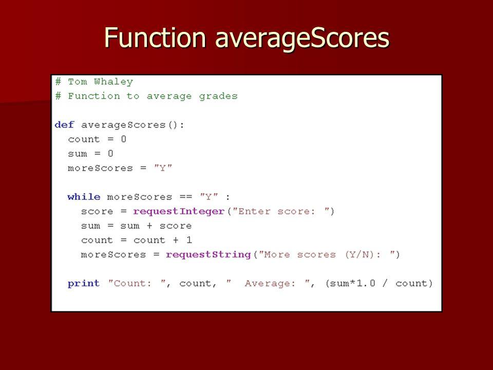 Function averageScores