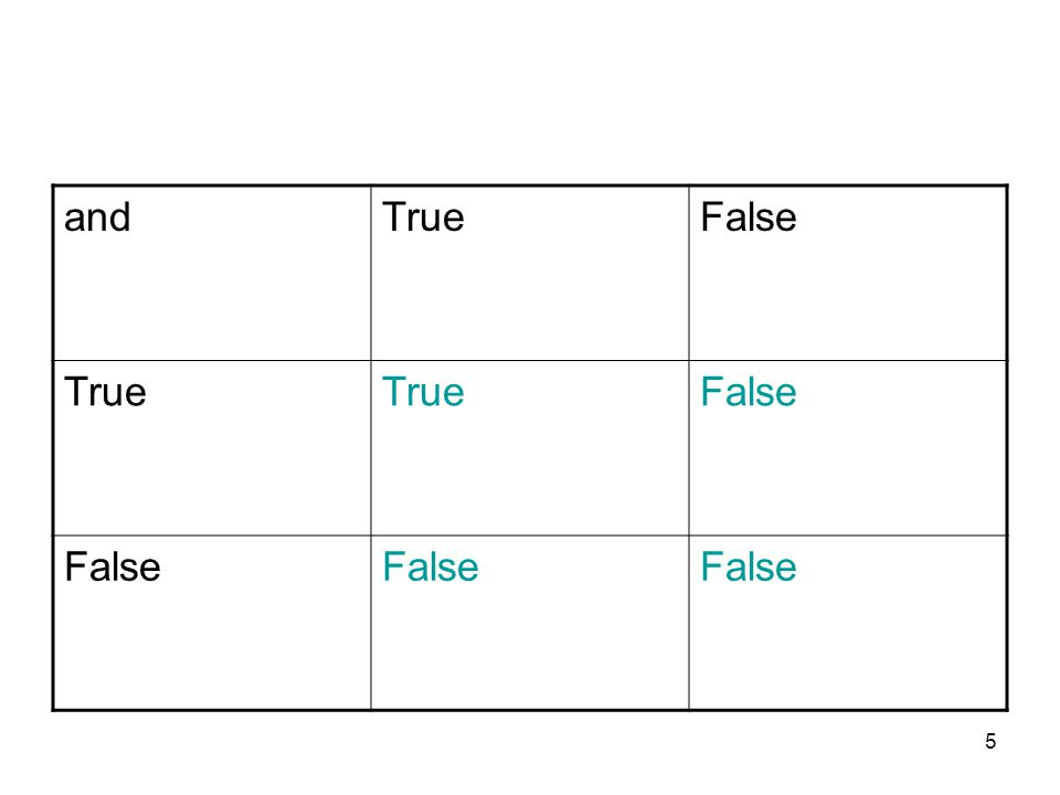 5 andTrueFalse True False