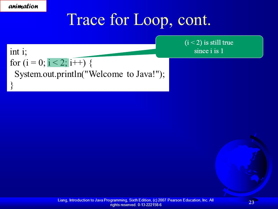 Liang, Introduction to Java Programming, Sixth Edition, (c) 2007 Pearson Education, Inc. All rights reserved. 0-13-222158-6 23 Trace for Loop, cont. i