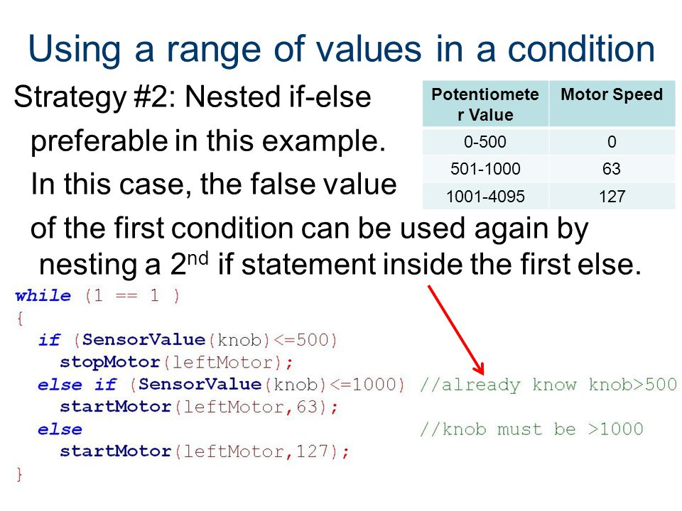 Using a range of values in a condition Strategy #2: Nested if-else preferable in this example. In this case, the false value of the first condition ca
