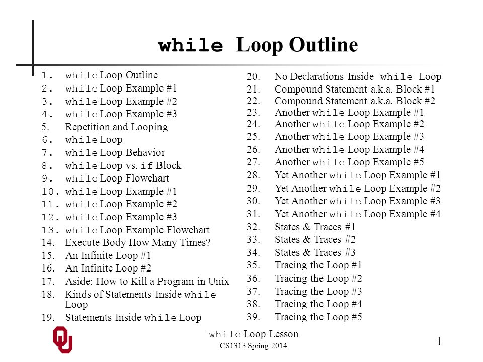 while Loop Lesson CS1313 Spring 2014 1 while Loop Outline 1.while Loop Outline 2.while Loop Example #1 3.while Loop Example #2 4.while Loop Example #3 5.Repetition and Looping 6.while Loop 7.while Loop Behavior 8.while Loop vs.