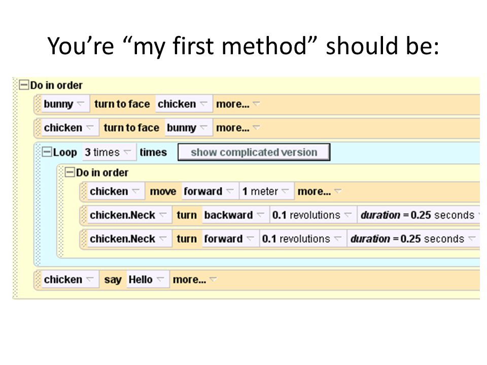 You're my first method should be: