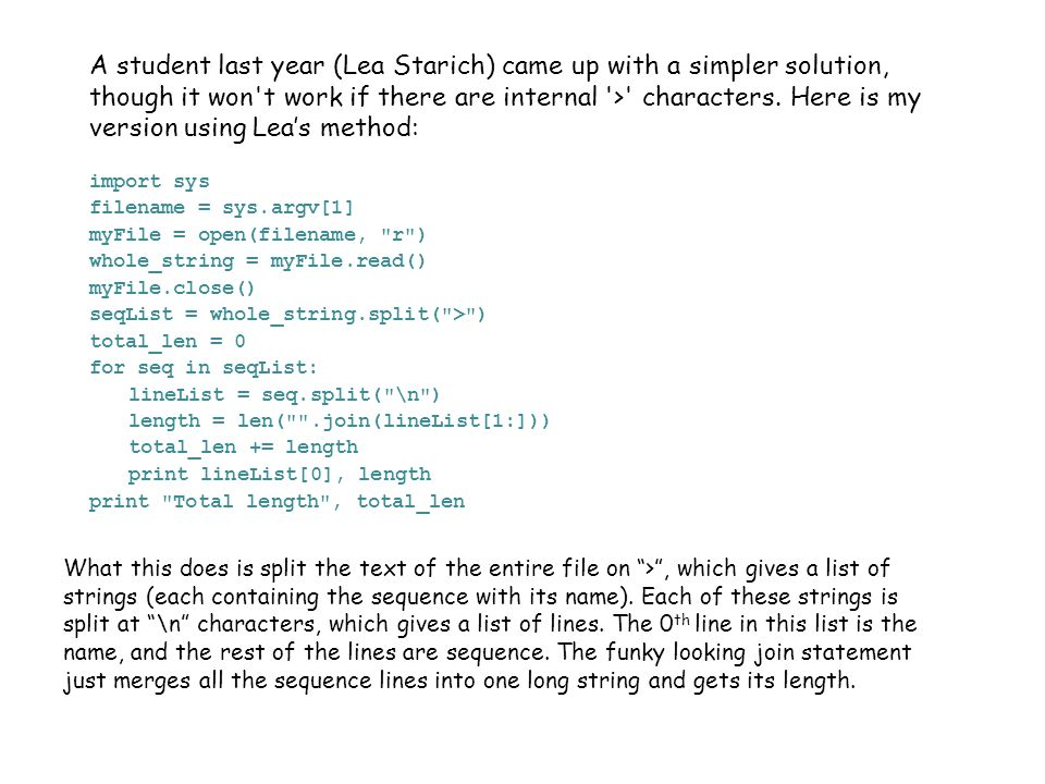 A student last year (Lea Starich) came up with a simpler solution, though it won t work if there are internal > characters.