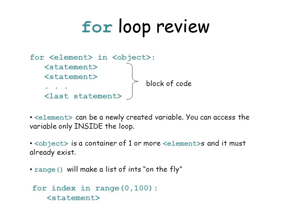 for loop review block of code for in :... can be a newly created variable. You can access the variable only INSIDE the loop. is a container of 1 or mo