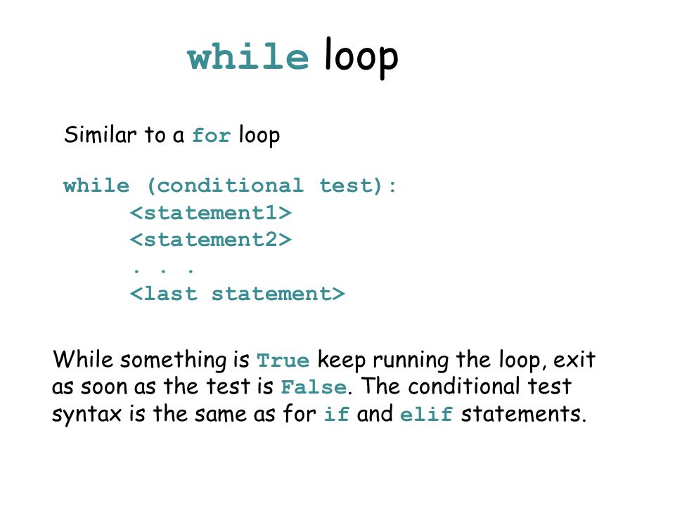 while loop while (conditional test):...